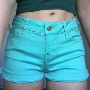 Turquoise jean shorts